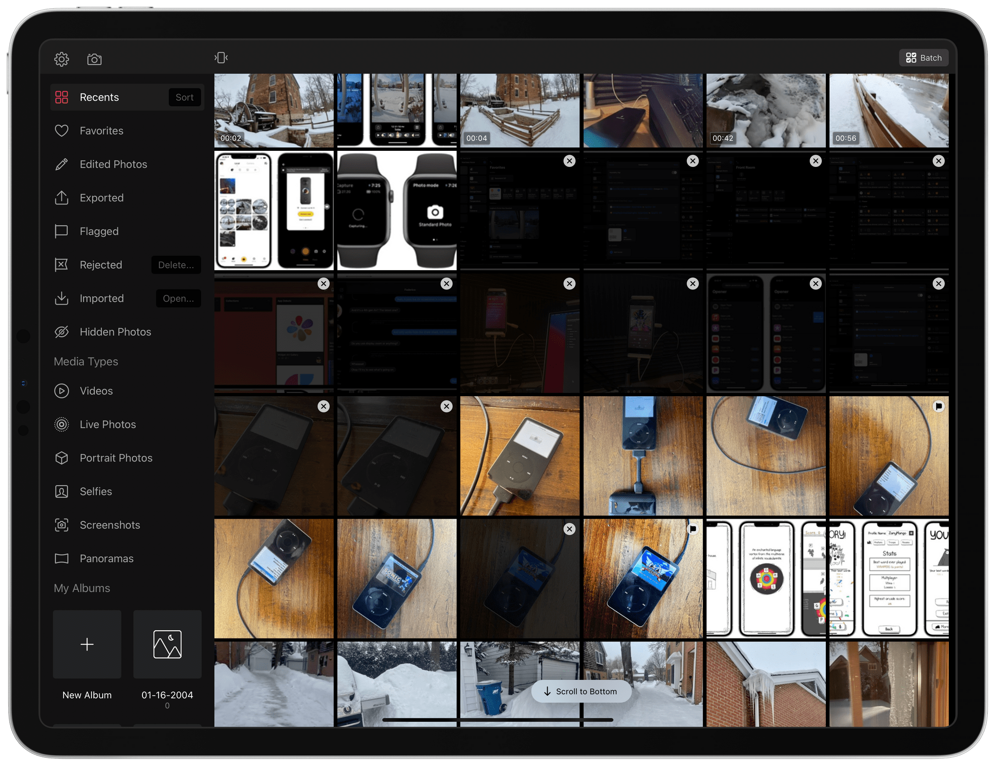Rejected images are dimmed to help you focus on the rest of your photo library.